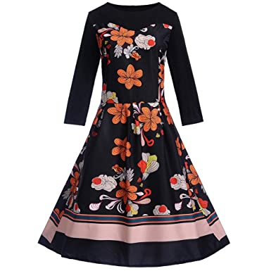 Womens Party Dress Hot Sale,DEATU Ladies Teen Girls Vintage Long Sleeve O Neck Evening