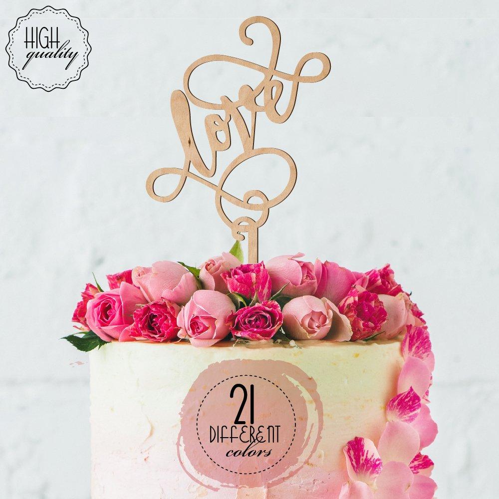 Amazon.com: Love Engagement & Wedding Cake Topper | Mirrored Cake ...