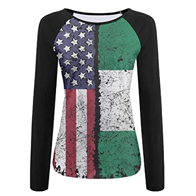 edd811a1e3e64 Image Unavailable. Image not available for. Color  American Nigerian  Nigeria African Women s Raglan Long Sleeve Shirt ...