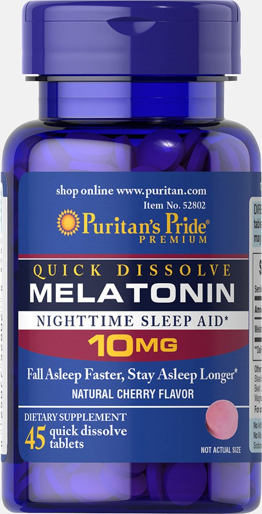 Amazon.com: Puritans Pride Quick Dissolve Melatonin 10 mg Cherry Flavor-45 Tablets: Health & Personal Care