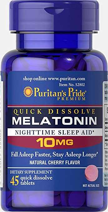 Image Unavailable. Image not available for. Color: Puritans Pride Quick Dissolve Melatonin 10 mg ...