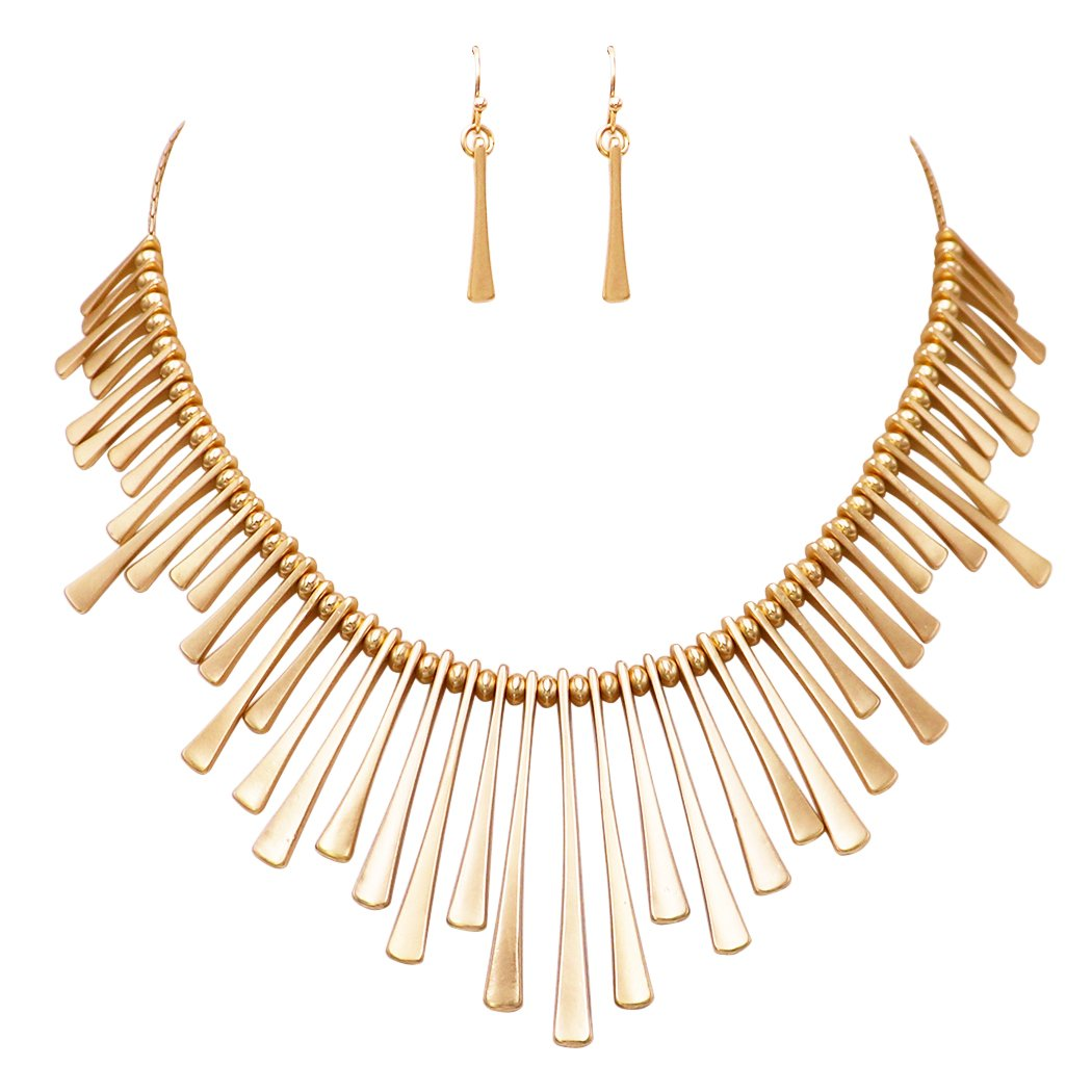 Rosemarie Collections Women's Gold Tone Bead and Bar Bib Statement Necklace and Earrings Set
