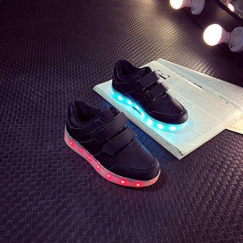 [+Kleines Handtuch]Korean Mode-Schuhe, LED-Licht-emittierende Leucht Lichter blinken Schuhe mit Klettverschluss für männliche und weibliche c3