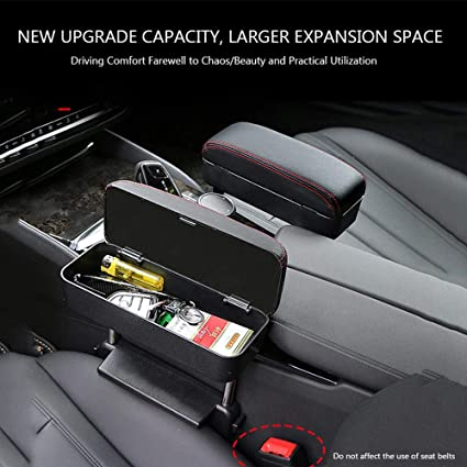 Universal Car Console Side Organizer Box Adjustable Height Car Elbow Support Pads Relieve The Drivers Arm Fatigue Volwco 3 in 1 Car Driver Seat Armrest Box with Wireless Charging Function