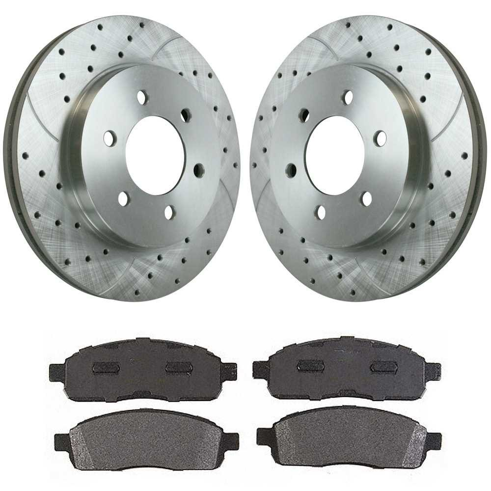 Prime Choice Auto Parts BRKPKG002331 Front Drilled /& Slotted Rotors with Ceramic Performance Pads Set