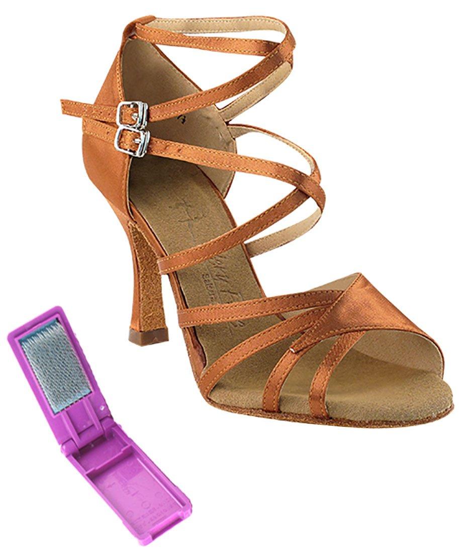Very Fine Ballroom Latin Tango Salsa Dance Shoes for Women SERA1662B 3 inch Heel + Foldable Brush Bundle - Dark Tan Satin - 7