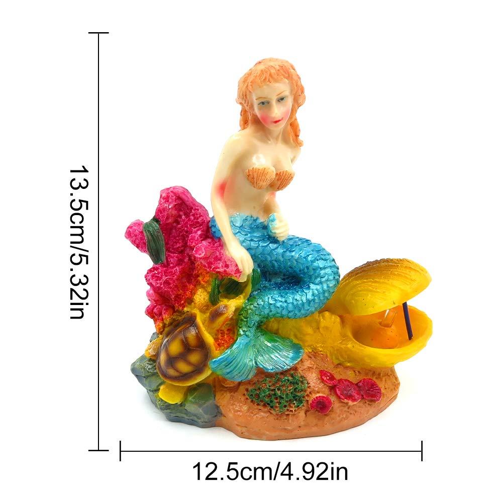 Estatua de sirena decorativa para acuario, de resina, color azul, para decoración del hogar, para pecera, sirena, suministros para el hogar: Amazon.es: ...