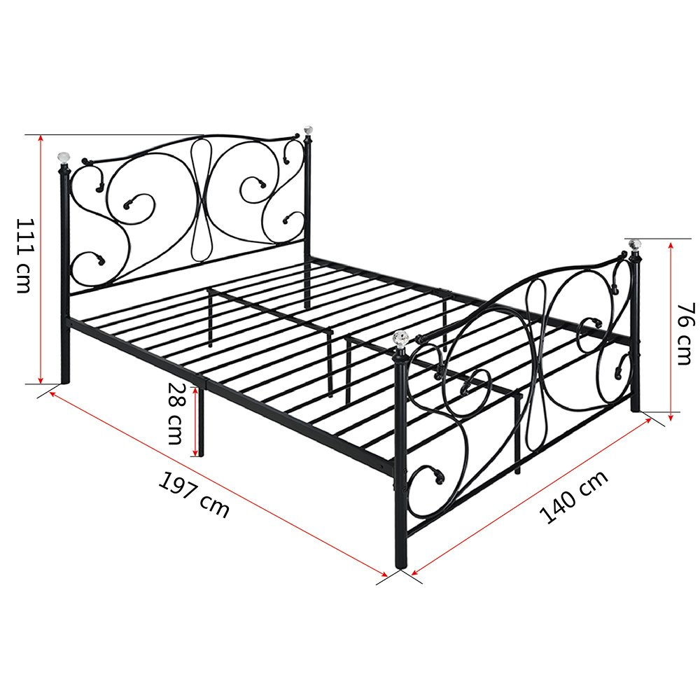 4 FT6, massivem Metall Bett Rahmen Doppelbett Bettgestell mit 2 ...