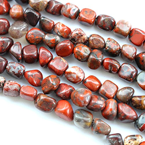 Natural Genuine Real Stone Free Size 6-7mm Nuggets Gemstone Loose Beads for Necklace Jewelry Making (Poppy jasper)