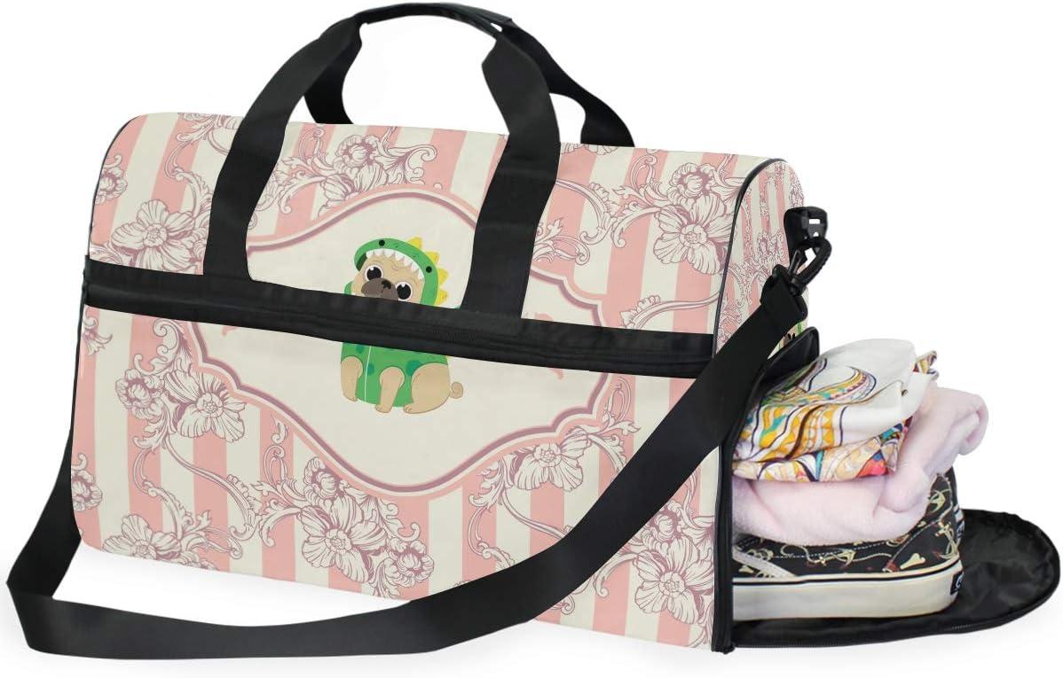 Sports Swim Gym Bag with Shoes Dog Pink Flower Compartment Weekender Duffel Travel Bags Handbag for Women Girls Men