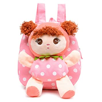 9e977d492f ... baby cute  huge discount bc47f af7a2 Moolecole Pink Cartoon Cute Doll Backpack  Toddler Girls Plush Backpack Schoolbag Sidekick ...