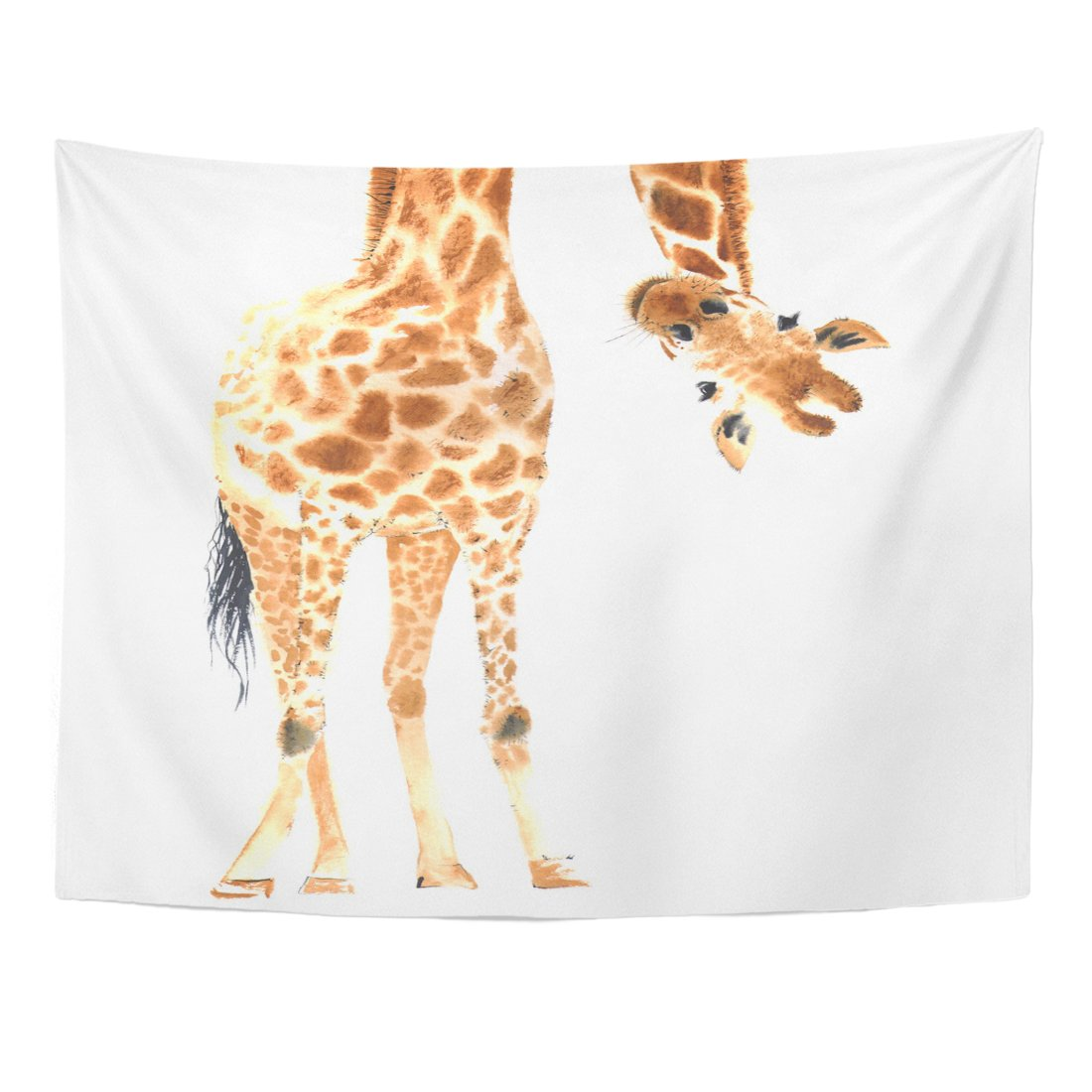 Emvency Tapestry Animal Realistic Giraffe Made in Watercolor Close up Zoo Safari Home Decor Wall Hanging for Living Room Bedroom Dorm 60x80 inches