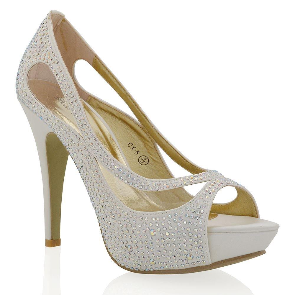 Amazon.com | Essex Glam Womens Platform High Heel Peep Toe Satin Diamante Bridal Prom Shoes | Pumps