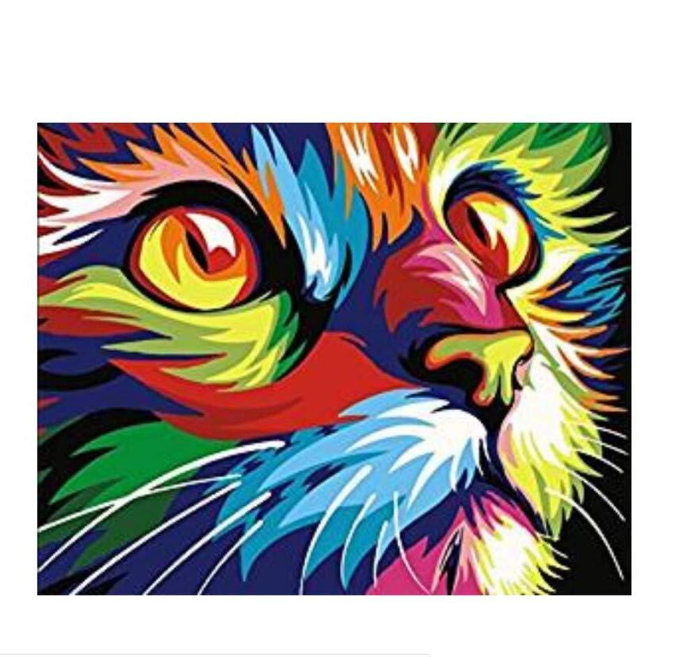 WAZHCY Geschenk malen nach nach nach Zahlen gemalt Katze Kopf Heimtextilien für Erwachsene Kind DIY 40X50CM Ohne Rahmen B07PNJKW16 | Garantiere Qualität und Quantität  d5c2d6
