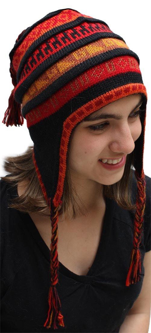 Superfine 100% Alpaca Wool Handmade Intarsia Chullo Ski Hat Beanie Aviator Winter (Black) by Alpaca Warehouse (Image #2)