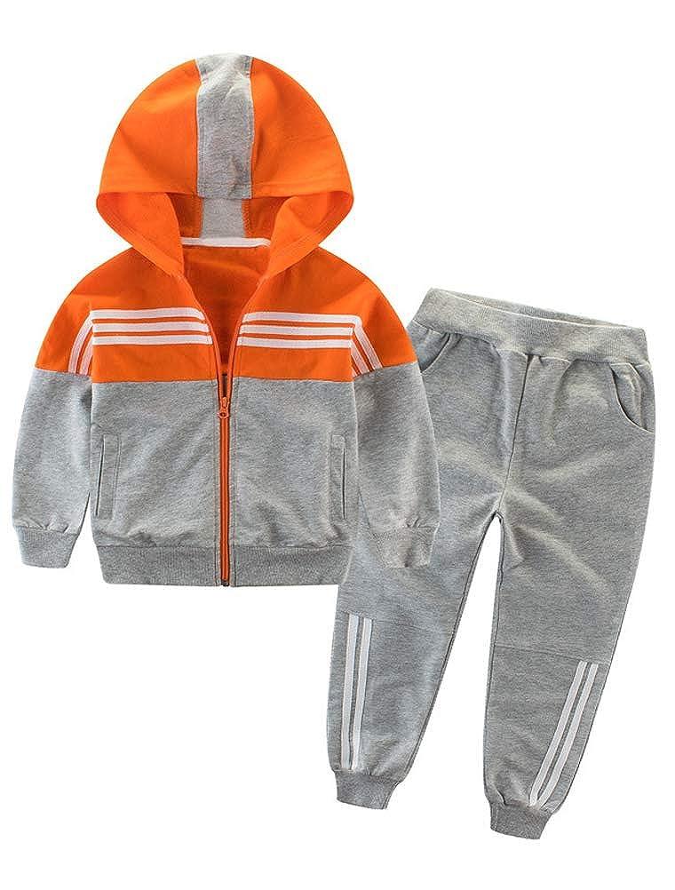 Mallimoda Boys Athletic 2 Pieces Sweatshirts Stripe Printed Cotton Clothing Set