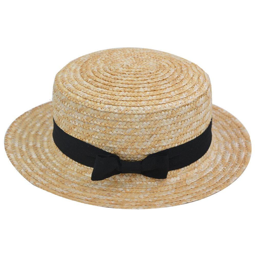 Yosang Adult Boater Skimmer Sailors Straw Hat Summer Handwoven Sun Hat