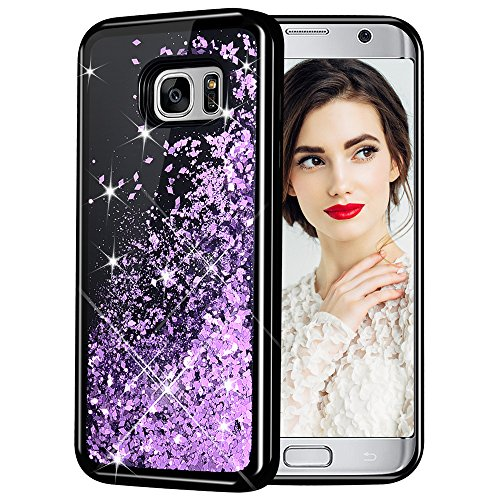 Galaxy S7 Case, Caka Galaxy S7 Glitter Case [Starry Night Series] Luxury Fashion Bling Flowing Liquid Floating Sparkle Glitter Girly TPU Bumper Case for Samsung Galaxy S7 - (Purple)