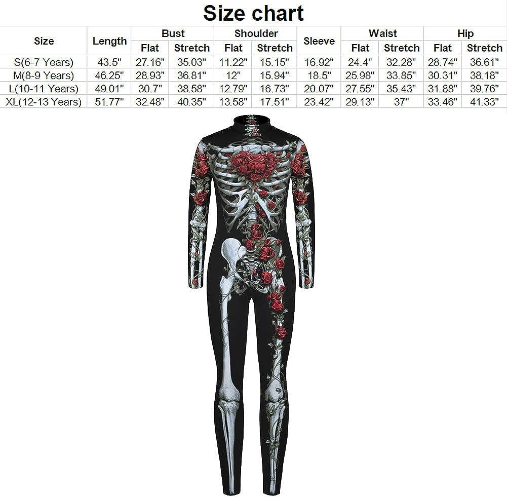 Stretchy Scary Skeleton Jumpsuit for Boys Girls Kids Halloween Novelty Silky Skull Cosplay Thin Bodysuit