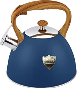 Tea Kettle 3L Stovetop Whistling Teakettle Tea Pot,Food Grade Stainless Steel Teapot Tea Kettles for Stove Top,Cool Wood Pattern Handle,Loud Whistle and Anti-Rust,Suitable for All Heat Source (Blue)