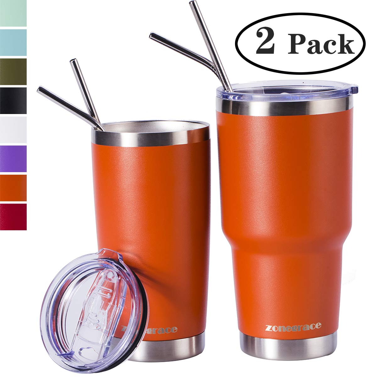 Zonegrace Orange 20oz and 30oz Insulated Tumblers with Lid & Gift Box | Stainless Steel Coffee Cup | Double Wall Vacuum Insulated Travel Coffee Mug with Splash Proof slid lid by Zonegrace