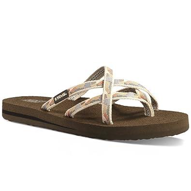 buy popular cee00 2dca9 Teva Women's Olowahu Flip-Flop (10 B(M) US/41 EUR, Waterfall/Antique Gold)