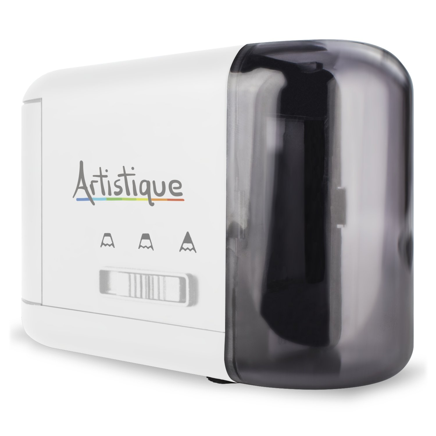 Artistique Electric Pencil Sharpener - Best Heavy-Duty Automatic Electric Pencil Sharpener for Art, Office & School - Works w/ Lead & Colored Pencils - Uses Battery or Wall Power - White