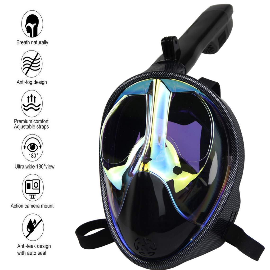 Baulanna Maschera Subacquea Professionale Maschera da Snorkeling Panoramica a 180/° Antiappannamento e Anti-Infiltrazioni Tubo Respiratorio Pieghevole per Uomo Donna Adulti