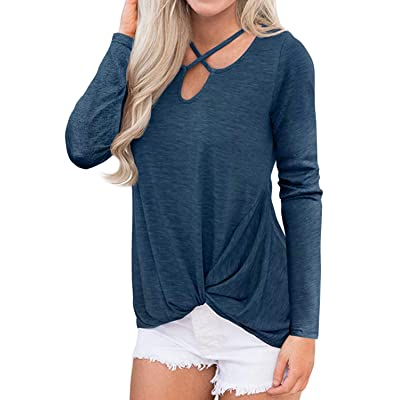 Cnokzol Casual Tops for Women Criss Cross Long Sleeve T Shirt Knot Front Tunic Shirt at Women's Clothing store
