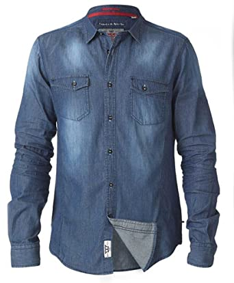 1d081be3c8 D555 Vintage Denim Shirt For Tall Men - Tall Fit LT to 3XLT  Amazon.co.uk   Clothing