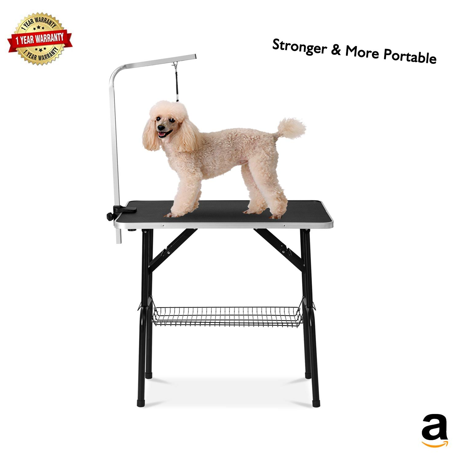 Professional Grooming Table 32'' for Dogs & Pets Foldable & Durable with Adjustable Arm, Stainless Leg Frame, Storage Tray, MDF Board & Rubber Mat