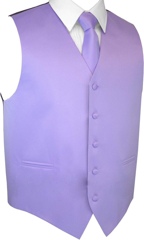 Brand Q Men's Formal Prom Wedding Tuxedo Vest, Tie & Pocket Square Set in Lavender