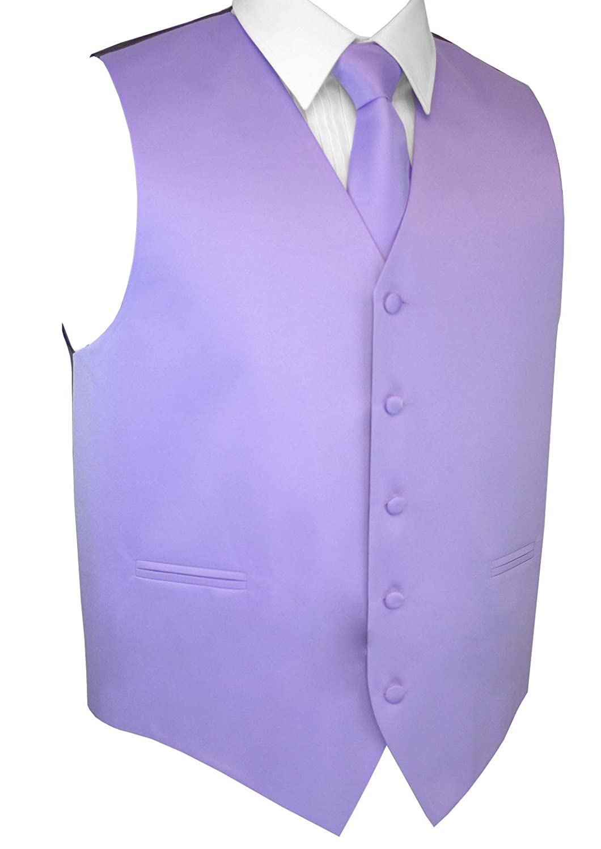Brand Q Mens Formal Prom Wedding Tuxedo Vest Tie /& Pocket Square Set in Lavender