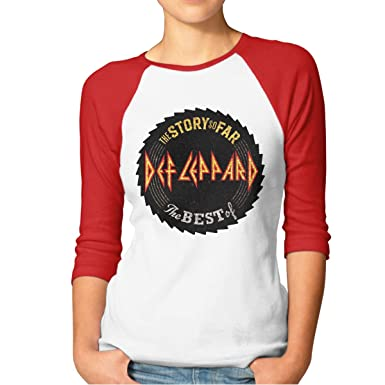 e40638a5 Women's T-Shirt Def Leppard The Story So Far Graphic Leisure Raglan 3/4  Sleeve Tee at Amazon Women's Clothing store: