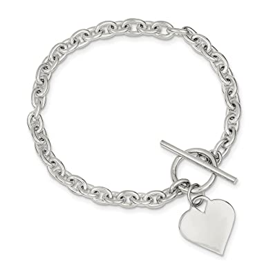 15071e752 Image Unavailable. Image not available for. Color: 925 Sterling Silver  Heart Toggle Bracelet ...