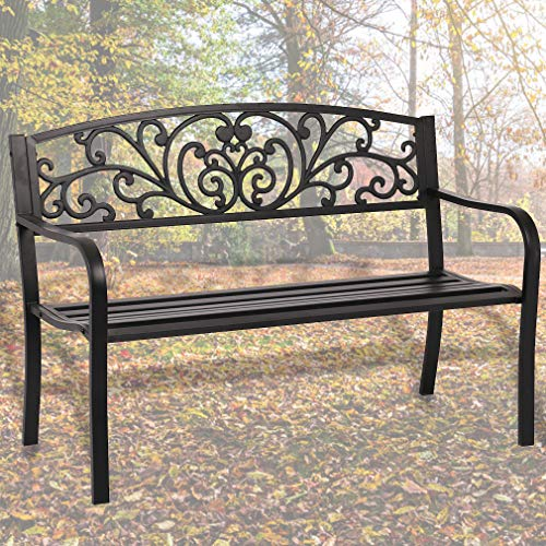 Garden Bench Outdoor Bench Patio Bench Cushions for Outdoors Metal Porch Clearance Work Entryway Steel Frame Furniture for Yard (Outdoor Steel Bench)