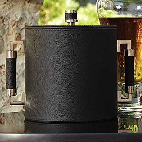 Black Leather Silver Mid Century Modern Ice Bucket Set | Chiller Tongs Lid  Wine