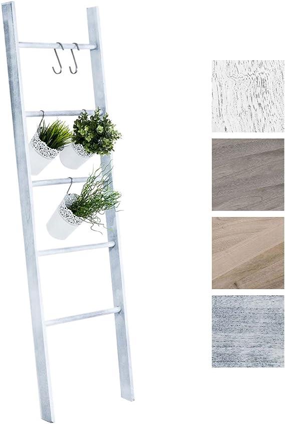 CLP Escalera de Decoración Mariette I Escalera Decorativa de Madera con 5 Peldaños I Toallero en Estilo Rústico I Color: Gris: Amazon.es: Hogar