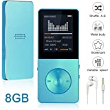 Mp3/Mp4 Player Widon 8GB Mp3 Music Player Built-in Speaker HiFi Shuffle A-B Playback Bookmark Variable Speed for Audio Books Metal Body FM Radio Voice Recorder Gift for Kids Language Learning Blue