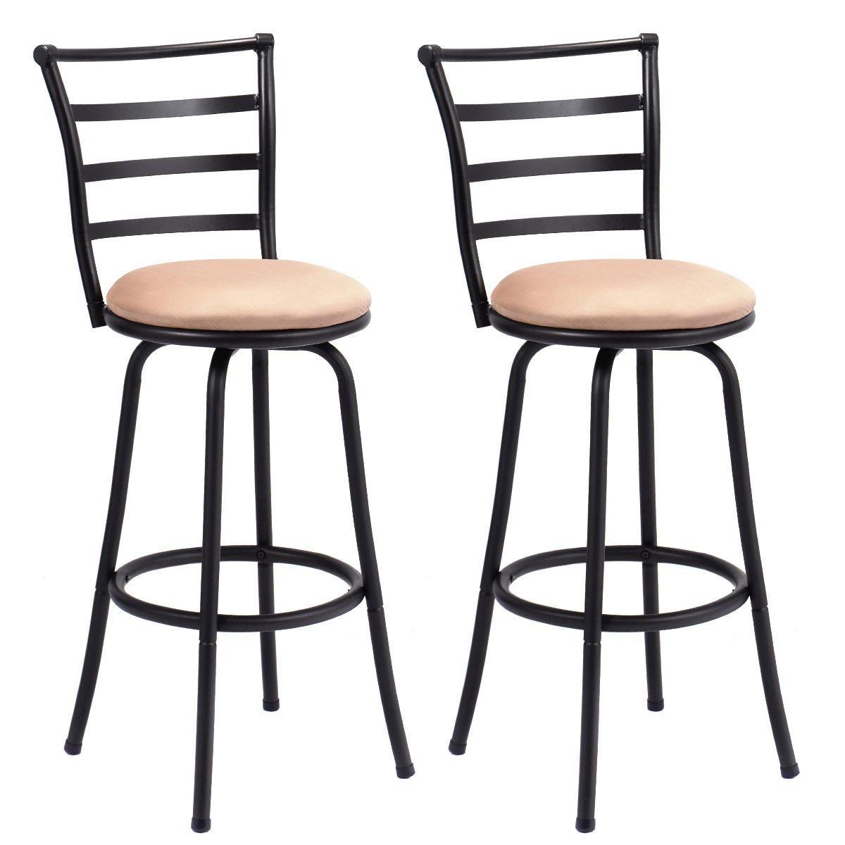 2 pcs of Bar Stools Swivel Counter Height Modern Barstool Pub Chairs Set Steel Frame