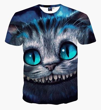 XIAOBAOZITXU T-Shirt Camiseta impresión Digital en 3D Manga Corta Disfraz de Pareja Unisex Gato