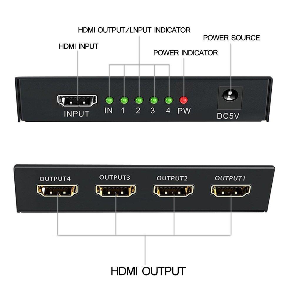iKKEGOL 4 puertos 1 x 4 HDMI Splitter Video Switch HUB Caja 1080P Amplificador HD HDTV + ADAPTADOR DE ALIMENTACIÓN: Amazon.es: Electrónica