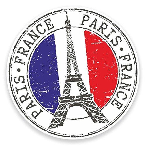 2 x 10cm- 100mm Paris Eiffel Tower France Vinyl SELF ADHESIVE STICKER Decal Laptop Travel Luggage Car iPad Sign Fun #9271 (Luggage France)