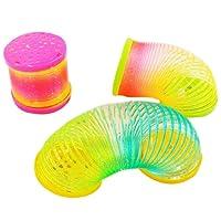 FUNCOCO Fashion 2 Pcs Colorful Rainbow Plastic Magic Slinky Children Funny Development Toy, Random
