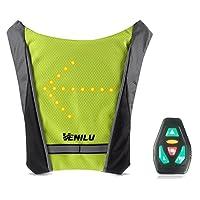 Venilu - Dossard Gilet LED Clignotants - 3 Modes de Contrôle - Bretelles Ajustables - Télécommande sans-Fil pour Cycliste Velo Moto Joggeur Marcheur Sac Ecole