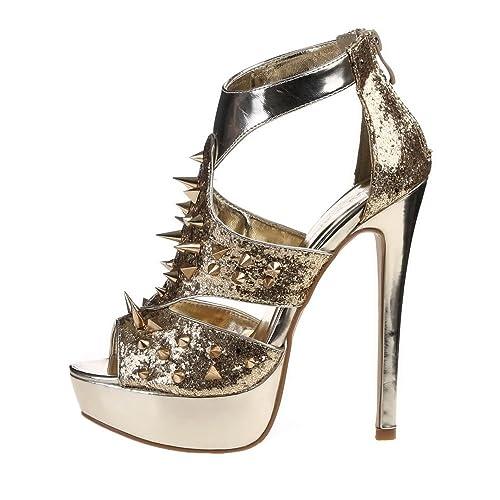 Damen Schuhe, PUMPS, HIGH HEELS PLATEAU STACHELN SANDALETTEN, K6945,  Synthetik in hochwertiger c05dce74fd