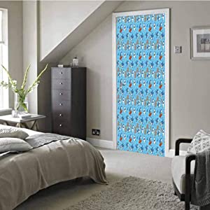 3D Door Stickers Decal Mural Art Sticker, Vector Seamless Underwater Pattern with Cute Cartoon Sharks, Removable Door Wall Mural Door Wallpaper for Home Decorative W30.3 x H78.12 Inch