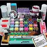BTArtbox Full 24 Nail Art Acrylic Powder Primer Glitte Liquid TIP Brush Glue Dust KITS DIY Decorations