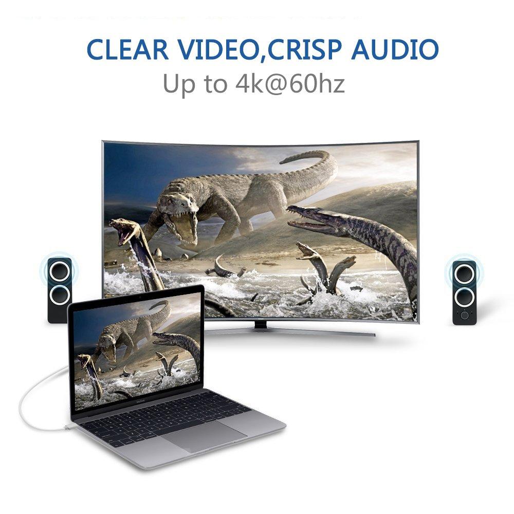 USB-C a HDMI,VGA,2 x USB 3.0 AV Digitale Multiport HUB//Adattatore con Alimentazione in Carica.Convertitore USB Tipo C per iMac,MacBook//iPad Pro 2018,Galaxy S9//S8 Plus,P20 Pro.Bianco Thunderbolt 3