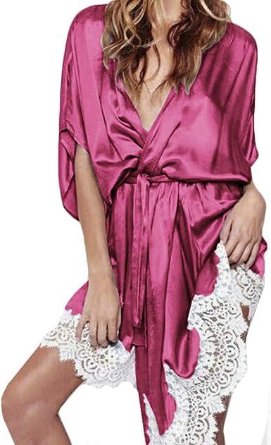 Women Lingerie Silk Lace Robe Dress Babydoll Nightdress Gift Nightgown Sleepwear